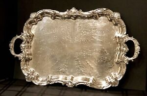 Silver Plated Tray Ornate Serving Tea Tray Baroque Victorian Vintage Tray