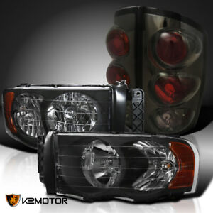 For 2002 2005 Dodge Ram 1500 2500 3500 Black Diamond Headlights Smoke Tail Lamps