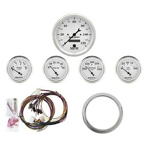 For Chevy Impala 59 60 Old Tyme White Series Direct Fit 5 Piece Gauge Panel Kit