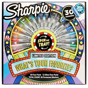 Sharpie Permanent Markers Limited Edition 30 Spin The Tray Fine Ultra Point