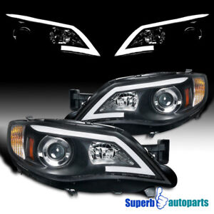 For 2008 2011 Subaru Impreza Outback Led Drl Projector Headlights Black Wrx