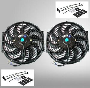2 10 Inch Black Universal Electric Radiator Slim Fan Push Pull 12v Mounting Kit