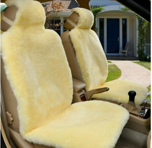 2pcs Genuine Sheepskin Car Seat Covers Australian Fur Seat Cover Long Wool New