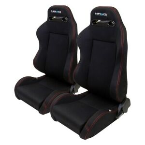 Nrg Innovations Type r Series Sport Seats Fabric Black W Red Stitch
