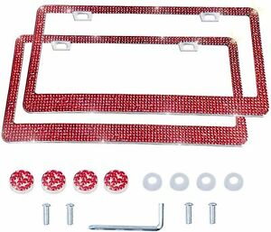 2 Luxury Made With Swarovski Crystal Metal License Plate Frame Cap Diamond Red