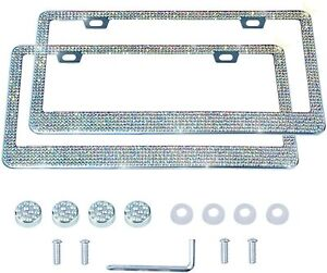 2 Luxury Made With Swarovski Crystal Metal License Plate Frame Cap Diamond Color