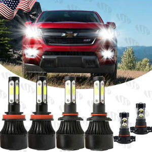 For Chevy Colorado 2015 2020 6x Combo White Led Headlight Hi lo Fog Light Bulbs