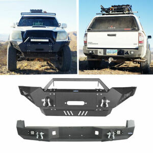 Front Rear Bumper W Winch Plate Led Lights Fit Toyota Tacoma 05 15 2nd Gen