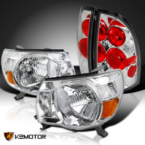 For 2005 2008 Toyota Tacoma Crystal Clear Lens Headlights Rear Tail Brake Lamps
