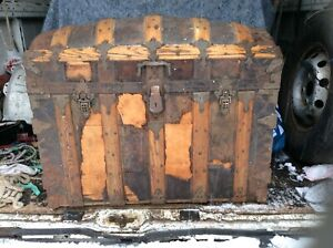 Antique Steamer Dome Top Trunk With Fancy Iron Work And Details