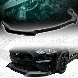 Gt Style Painted Black Front Bumper Spolier Splitter Lip Fit 18 20 Ford Mustang