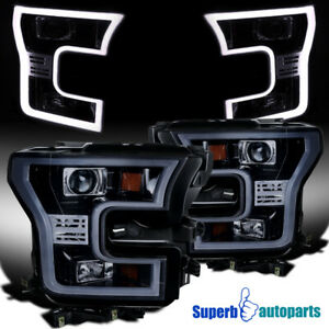 For 2015 2017 15 17 Ford F150 Glossy Black Led Light Bar Projector Headlights