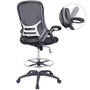 High back Mesh Ergonomic Drafting Chair Tall Office Chair Standing Desk Stool