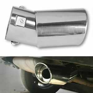 Car Universal Chrome Stainless Steel Rear Round Exhaust Pipe Tail Muffler Tip Ea