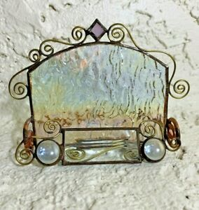Handmade Stained Glass Stand Business Card Holder Copper Pink Clear
