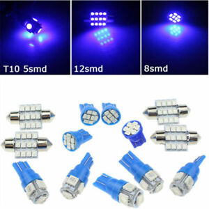 13x Blue Led Light Interior Package Kit For Dome Map License Plate Lamp Bulbs