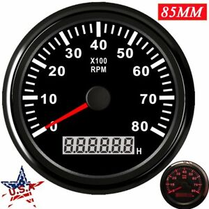 85mm Marine Boat Tachometer Hourmeter Digital Gauge 0 8000rpm Red Led Waterproof