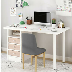 Computer Desk Wood Table Workstation Home Office Student Laptop Study W Drawers