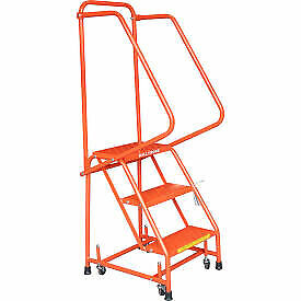 Perforated 16 w 3 Step Steel Rolling Ladder 10 d Top Step W Handrails Orange