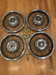 Four 1986 To 1990 Buick Century Locking Wire Spoke 14 Inch Hubcap Wheel Cover