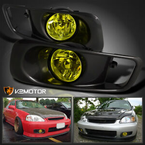 For 1999 2000 Honda Civic Si Yellow Bumper Fog Lights Driving Lamps Kit Switch
