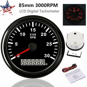 85mm Car Lcd Digital Tachometer 0 3000rpm Diesel Engine Tacho Meter Rpm Gauge Us