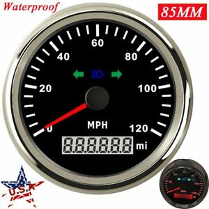 85mm Waterproof Gps Speedometer Odometer 0 120mph Car Marine Morcycle Red Led Us