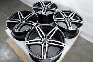 17 Wheels Avalon Camry Celica Corolla Matrix Civic Accord Black Rims 5 Lugs