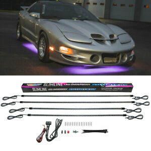 Ledglow 4pc Purple Led Slimline Car Underbody Underglow Neon Lighting Kit