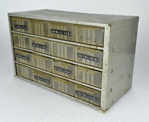 Vtg Akro Mils 16 Drawer Machinist Small Parts Bin Cabinet Gray Metal Akron Ohio