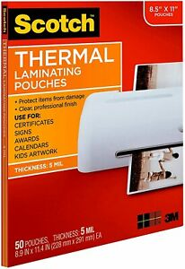 Scotch 3m Thermal Laminating Pouches 100 Pack 5 Mil 8 9 X 11 4 tp5854 100