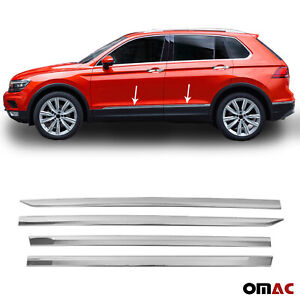 Chrome Side Door Streamer Trim Cover S Steel 4 Pcs Fits Vw Tiguan 2018 2021