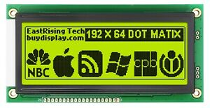 Low cost 19264 192x64 Graphic Lcd Module Display Yellow Black Color