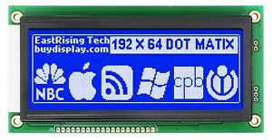 Low cost 19264 192x64 Graphic Lcd Display Module Blue White Color