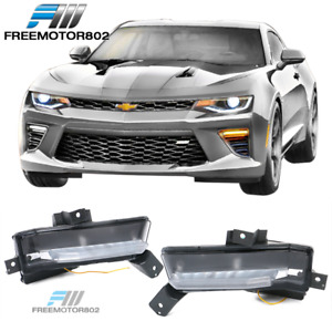Fit 16 18 Chevy Camaro Ss Fog Lights Clear W Amber Turn Signal In Pair