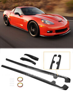 For 05 13 Chevy Corvette C6 Z06 Glossy Black Side Skirts Mud Flaps Zr1 Style