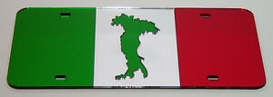 Italy Flag Italian Boot Country Mirrored Laser Cut License Plate Inlaid