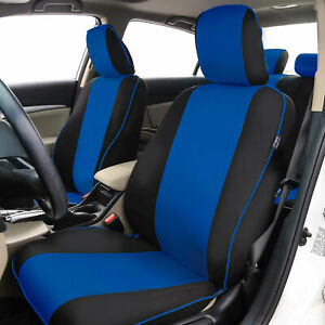 Stylish Edgy Piping Front Bucket Seat Covers Pair Universal Fit Blue Black