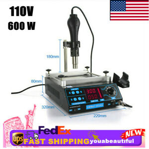 Adjustable Lcd Bag Rework Soldering Station With without Hot Air Gun Preheat Usa