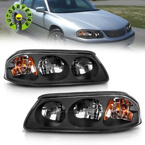 Fit For 2000 2005 Chevy Impala Black Amber Headlights Lamp Assembly Left right