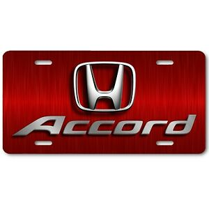 Honda Accord Inspired Art On Red Steel Flat Aluminum Novelty License Tag Plate
