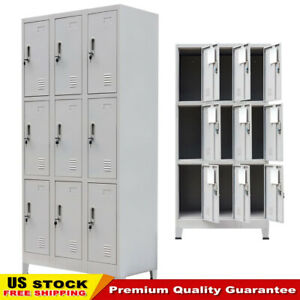 Changing Room Locker Cabinet With 9 Compartments Steel 35 4 x17 7 x70 9 Gray Us