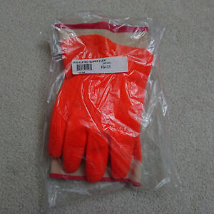 San Jamar Fgi or Orange Insulated Freezer frozen Food Gloves Large pair