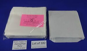 Qty 500 Dry Wax White Paper Sand Bags Concession Machine Supplies 6 X0 75 x6 5