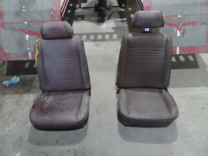 1969 1970 69 70 Ford Mustang Cougar Front Bucket Seats W Headrests Red Pair