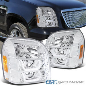 For 07 14 Gmc Yukon Denali Xl Clear Projector Headlights W Led Lamps Left right