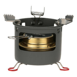Aluminum Camping Alcohol Stove Outdoor Portable Cooking Spirit Burner W bracket