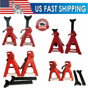 3 6 12 Tons Jack Stands Red Powder Coating Solid Steel Heavy Duty Repair Tools