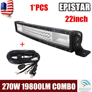 22 inch 120w Spot Led Light Bar Offroad Driving Bumper Atv Boat 20 Wiring Kit