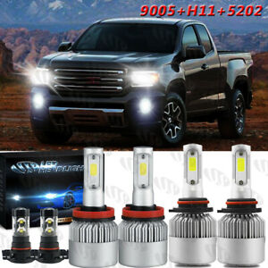 For 2007 2013 Gmc Sierra 1500 6x 6000k Led Headlight Fog Light Bulbs Combo